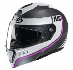 HJC I90 Davan - Mat Zwart / Wit / Roze