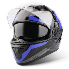 Vinz Becket blauw integraalhelm scooterhelm motorhelm zonnenvisier vooraanzicht open vizier