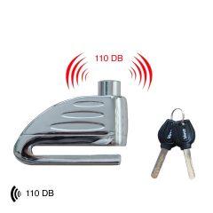 Vinz Elbroes Schijfremslot 6mm met Alarm 110db universeel slot voor remschijf scooter en motor vooraanzicht