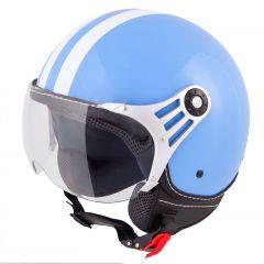 Vinz Fiori blauw witte strepen jethelm fashionhelm scooterhelm motorhelm vooraanzicht