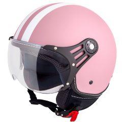 Vinz Fiori roze witte strepen jethelm fashionhelm scooterhelm motorhelm vooraanzicht