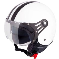 Vinz Fiori wit zwarte strepen jethelm fashionhelm scooterhelm motorhelm vooraanzicht