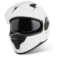 Vinz Kennet mat wit integraalhelm scooterhelm motorhelm zonnevizier vooraanzicht open vizier