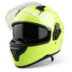 Vinz Kennet fluor geel integraalhelm scooterhelm motorhelm Zonnevizier vooraanzicht open vizier